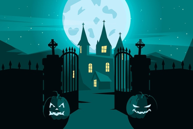 Flat design halloween wallpaper theme
