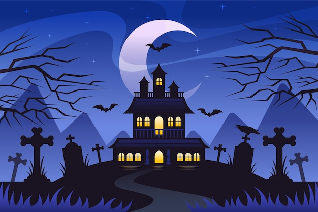 Flat design halloween wallpaper