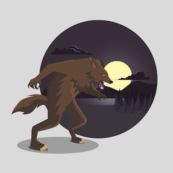 Flat design of halloween werewolf