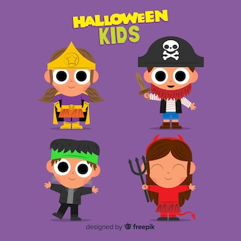 Flat design of hallowen kid collection
