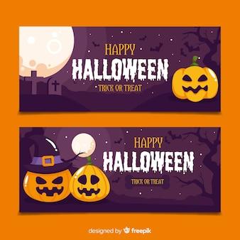 Flat design of hallween pumpkins banners