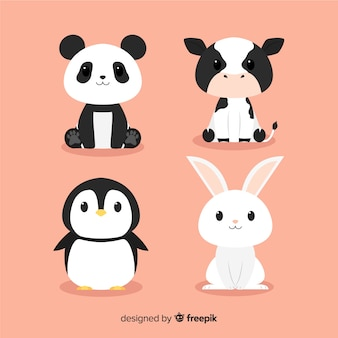 Flat design hand drawn cute animals pack