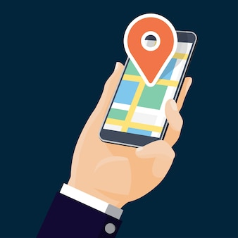 Flat design-hand holding mobile with map and pin