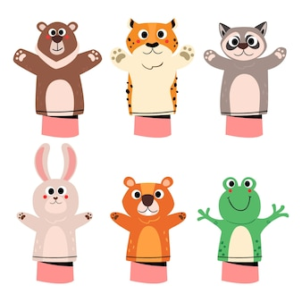 Flat design hand puppets collection