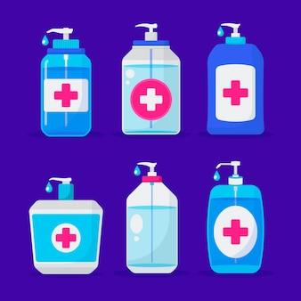 Flat design hand sanitizer bottle collection