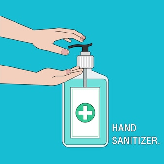 Плоский дизайн руки sanitizer.covid-19, коронавирусный кризис.