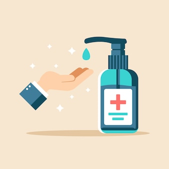 Flat design hand sanitizer illustration