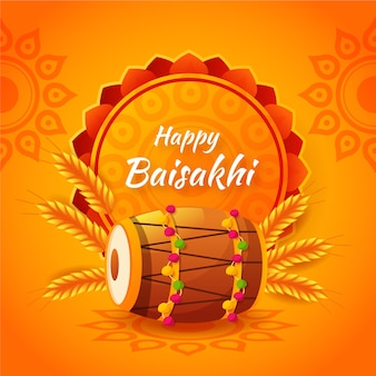 Flat design happy baisakhi background