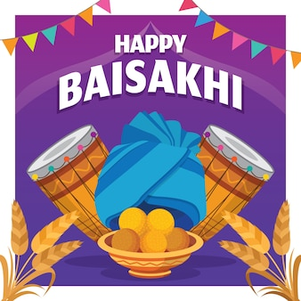 Плоский дизайн счастливого праздника байсахи
