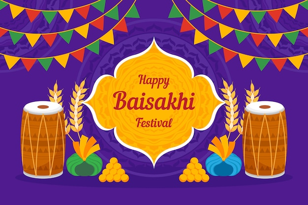 Flat design happy baisakhi concept