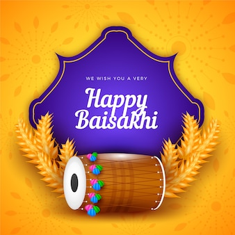 Flat design happy baisakhi day celebration theme