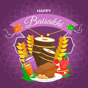 평면 디자인 행복 baisakhi 축제 디자인
