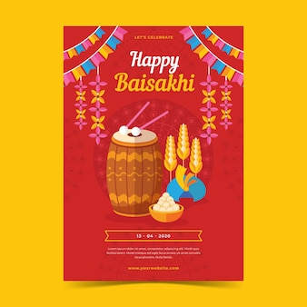 Flat design happy baisakhi poster
