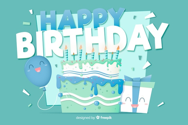 Flat design happy birthday background with cake
