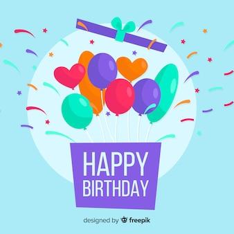 평면 디자인 생일 축 하 배경