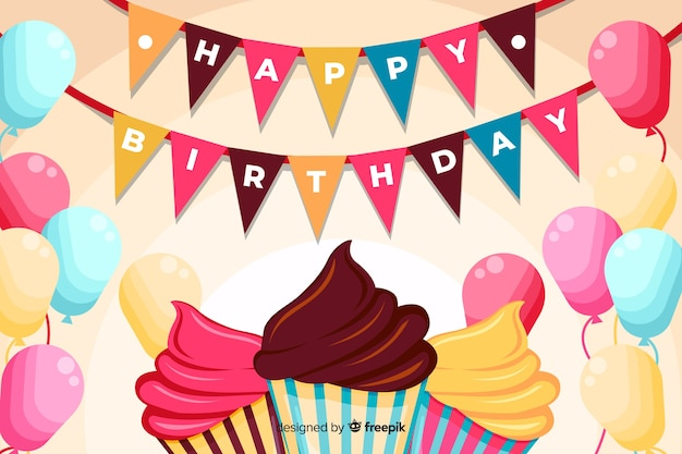 Flat design happy birthday background