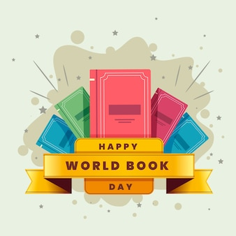 Flat design happy book lovers day