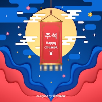 Flat design happy chuseok on rug