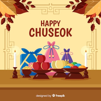Flat design happy chuseok with gifts