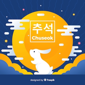 Flat design happy chuseok with rabbit