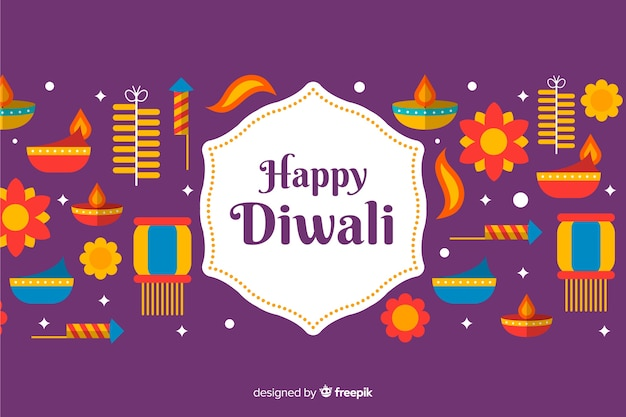 Flat design happy diwali background
