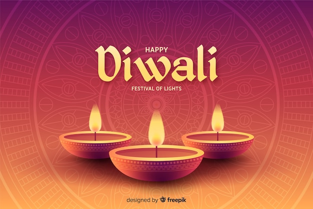 Flat design of happy diwali background