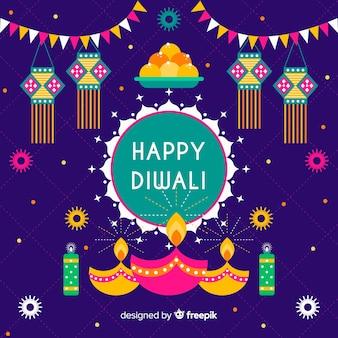 Flat design of happy diwali background