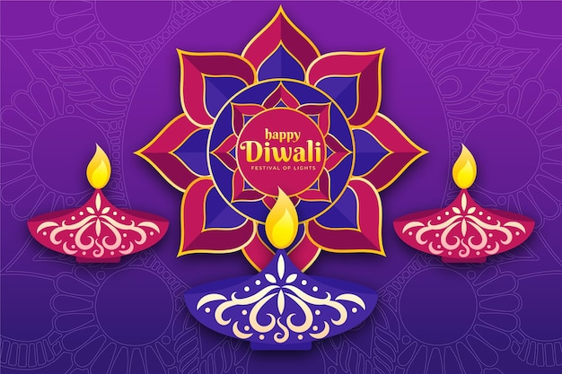 Flat design happy diwali collection of candles