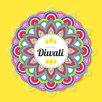 Flat design happy diwali coloured round design