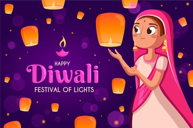 Flat design happy diwali woman with lanterns