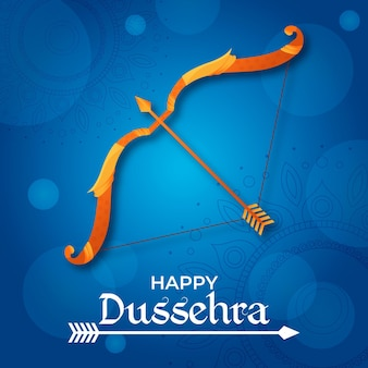 Flat design happy dussehra background with bow and arrow
