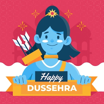 Flat design happy dussehra background with lord rama