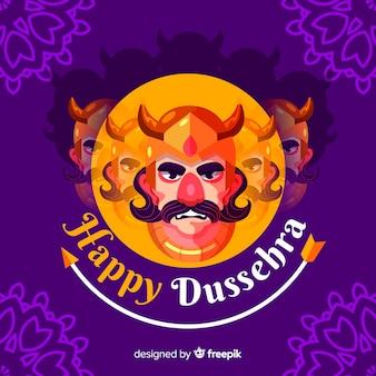 Flat design happy dussehra background