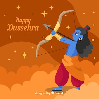Flat design happy dussehra background