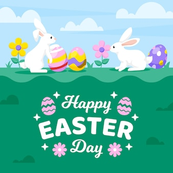 Flat design happy easter day background with bunnies and aggs