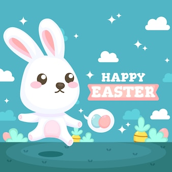 Flat design happy easter day  background