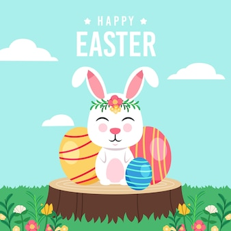 Flat design happy easter day concept