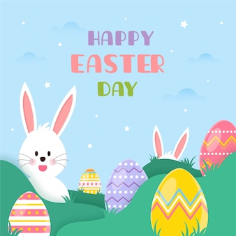 Flat design happy easter day event