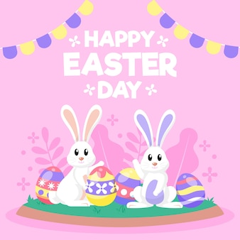 Flat design happy easter day wallpaper with bunnies and aggs