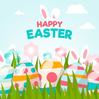 계란 평면 디자인 행복 한 부활절 날 벽지