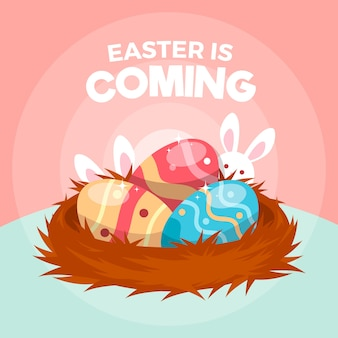 Flat design happy easter day wallpaper