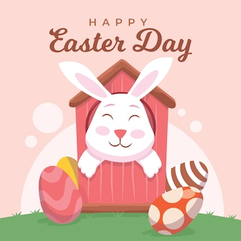 Flat design happy easter day with smiley bunny