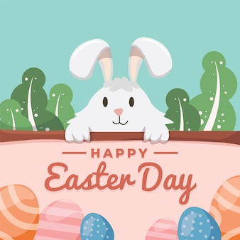 Flat design happy easter day with smiley rabbit