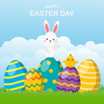 Flat design happy easter day