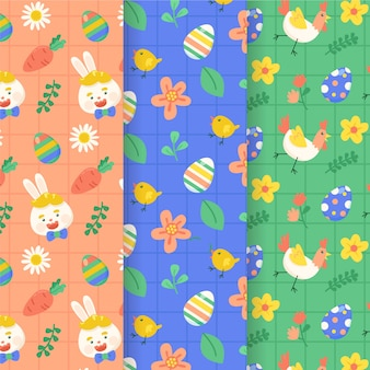 Flat design happy easter seamless pattern collection