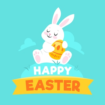 Flat design happy easter theme with bunny