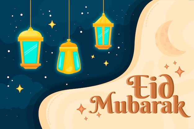 Flat design happy eid mubarak fanoos in the night