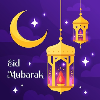 Flat design happy eid mubarak golden moon and fanoos