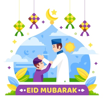 Flat design happy eid mubarak imam and child