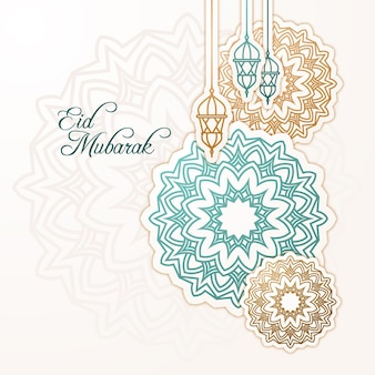 Flat design happy eid mubarak lanterns and decorations